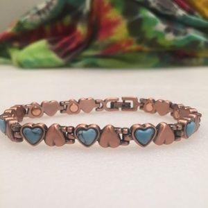 Jewelry - Turquoise Copper Heart Link Bracelet